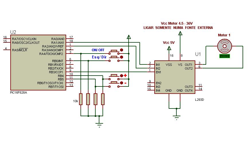 PIC: Controlando Motores DC com L293D