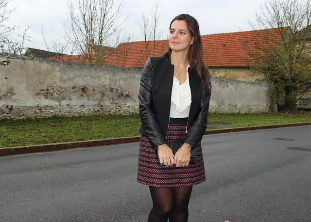 jupe comptoir des cotonniers, pochette jonak, veste bi matière naf naf