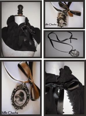 collier, pendentif, rétro, vintage, romantique, bohème, Bandeau, turban, ceinture, accessoire de mode, créateur,Mlle chacha, bandeau, col écharpe, turban, français, fait main,cadeau,anniversaire, baroque,tour de cou, shabby