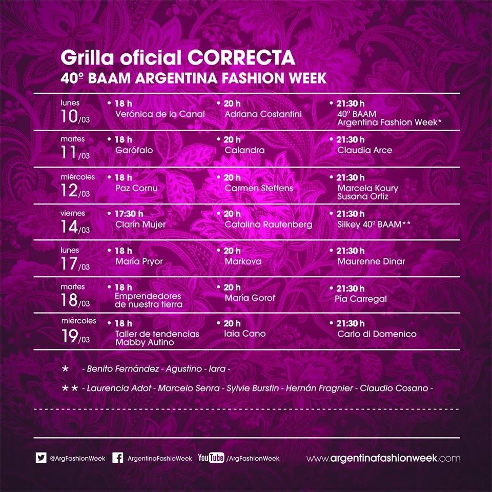BAAM otoño invierno 2014. BAAM 40. Grilla de desfiles. Moda Argentina otoño invierno 2014.