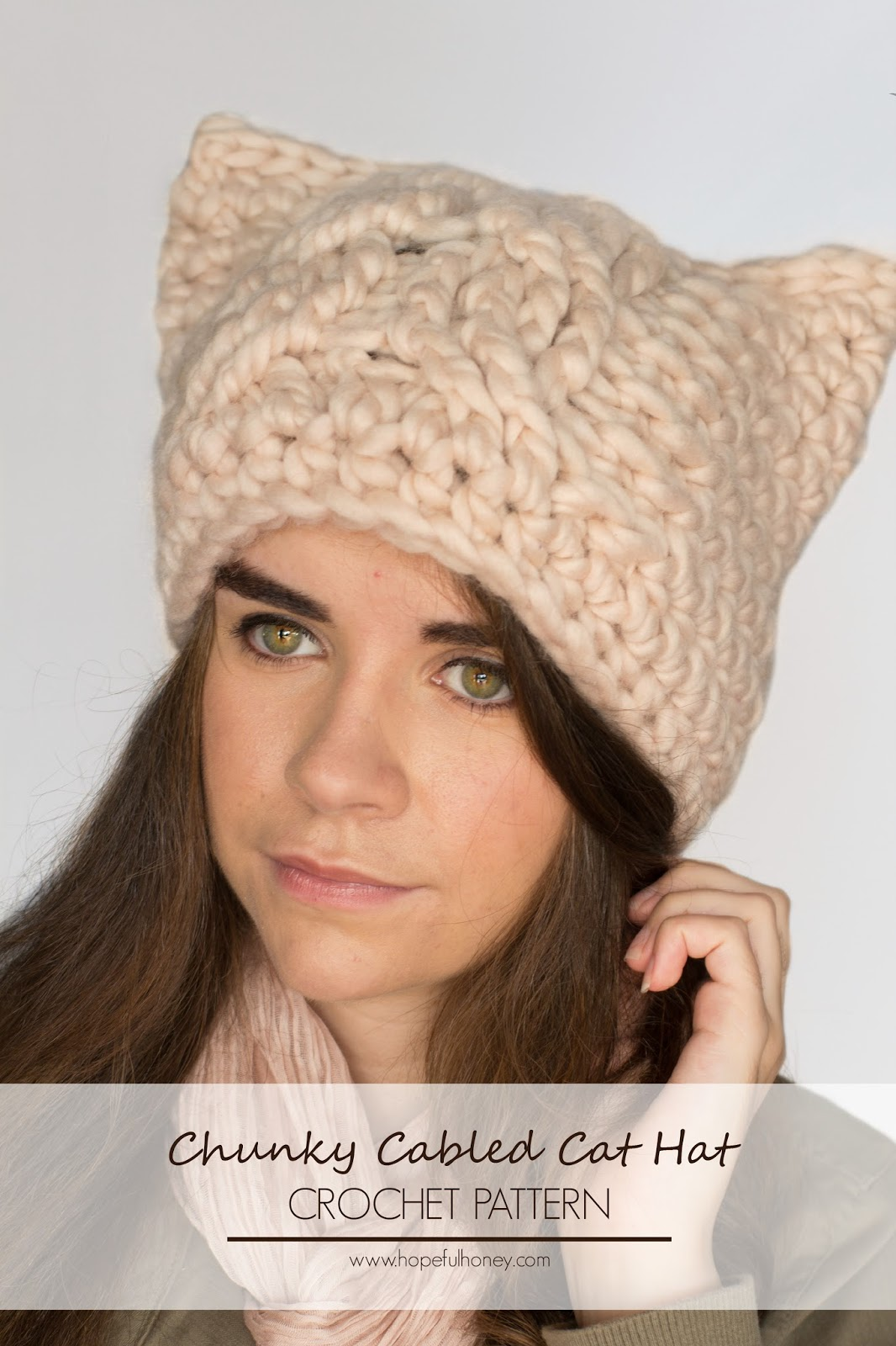 Crochet Kitty Cat Hat Pattern : Hopeful Honey Craft, Crochet, Create: Chunky Cabled Cat ...