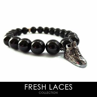 elisha francis, fresh laces, sneakers, bracelet, onyx bracelet, jordan bracelet, elisha francis london
