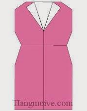 Bước 8: Hoàn thành cách xếp váy bó thân bằng giấy theo phong cách origami.