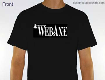 short sleeve black t-shirt with white Web Axe logo
