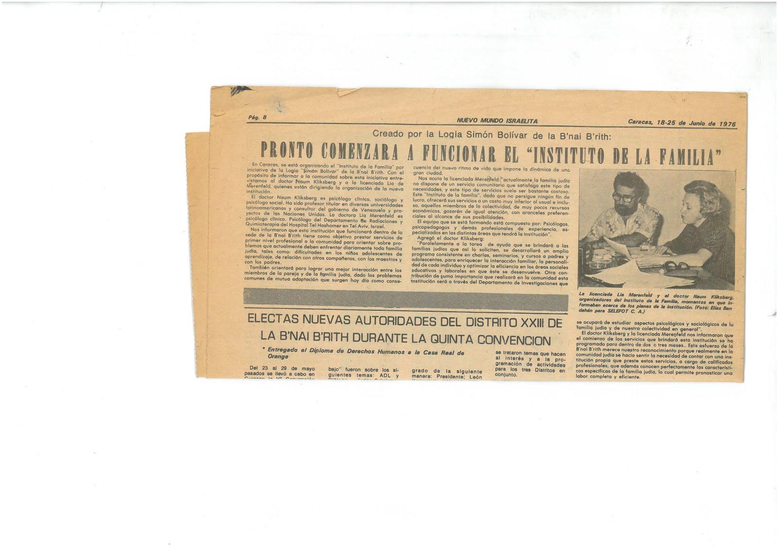 57 - Periódico Nuevo Mundo Israelita, Caracas, Venezuela.25/06/1976. Cómo psicoterapeuta