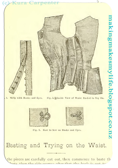 "Detailed drawings show interior of dress bodices, from Victorian sewing book ""Hecklinger's Ladies' Garments"""