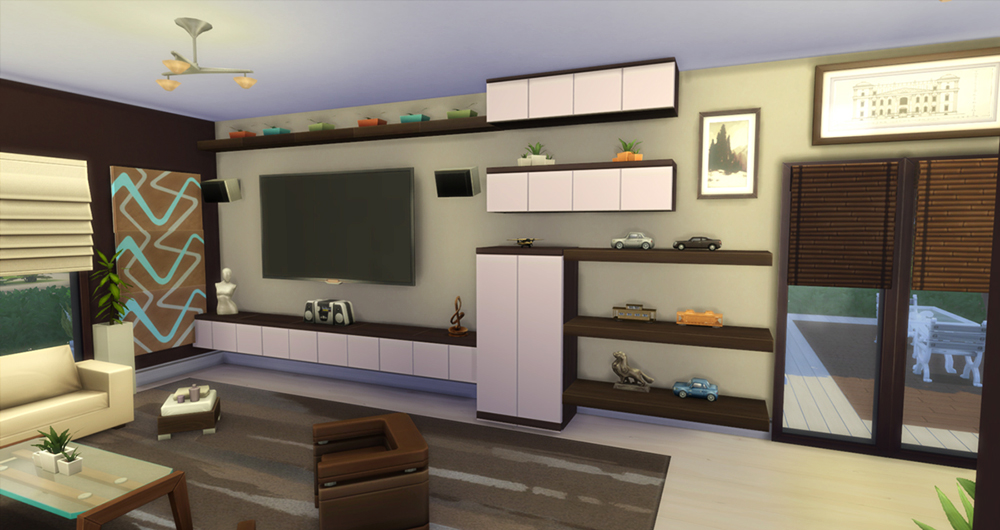 Modern natural home sims 4 houses for Modern living room sims 4