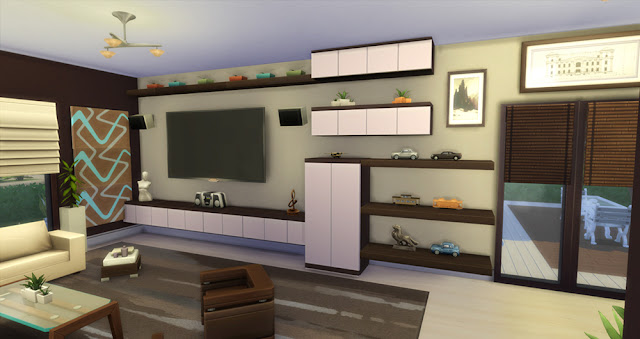 Modern natural home sims 4 houses for Salon moderne sims 4