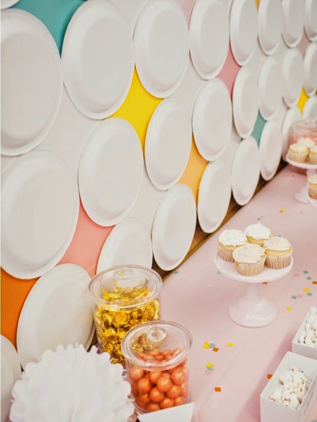 DIY Retro Diamond Paper Plate Dessert Table Backdrop for a 6th Birthday Party   Shauna Younge (pic: Sydnee Bickett)