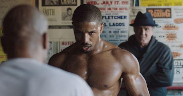 "Michael B. Jordan, foreground, and Sylvester Stallone in ""Creed"""