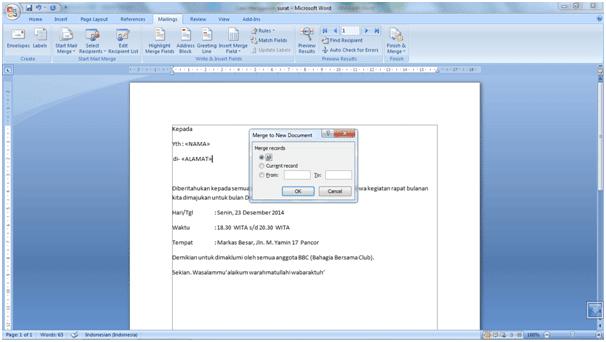 Cara Menggunakan Fitur Mail Merge Di MS. Word 2007 9