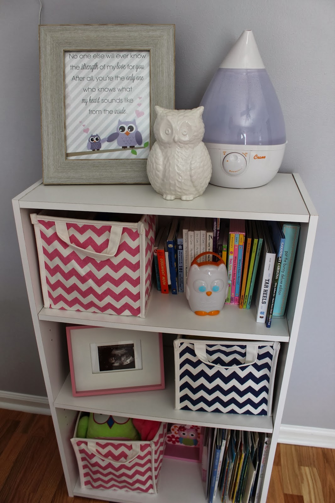 The owl print on the top shelf has one of my favorite quotes: #733939