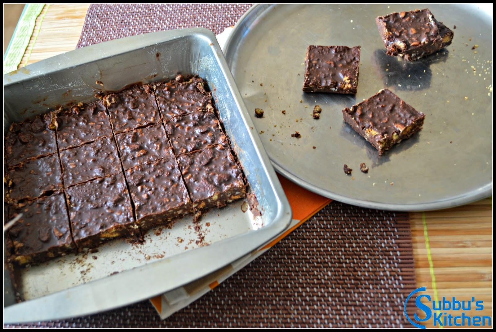 No Bake Chocolate Cake | Chocolate Fridge Cake | Subbus Kitchen