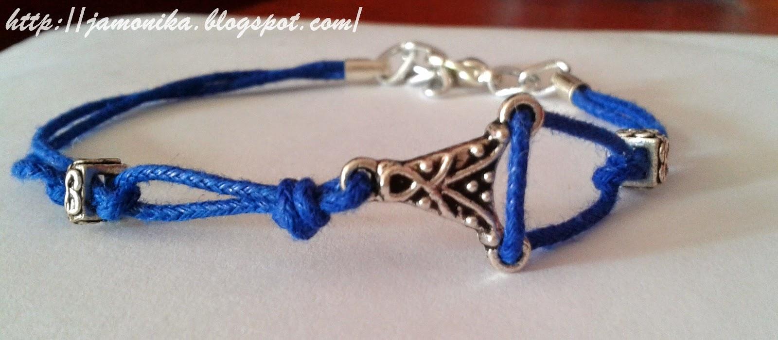 Niebieska bransoletka sznurek