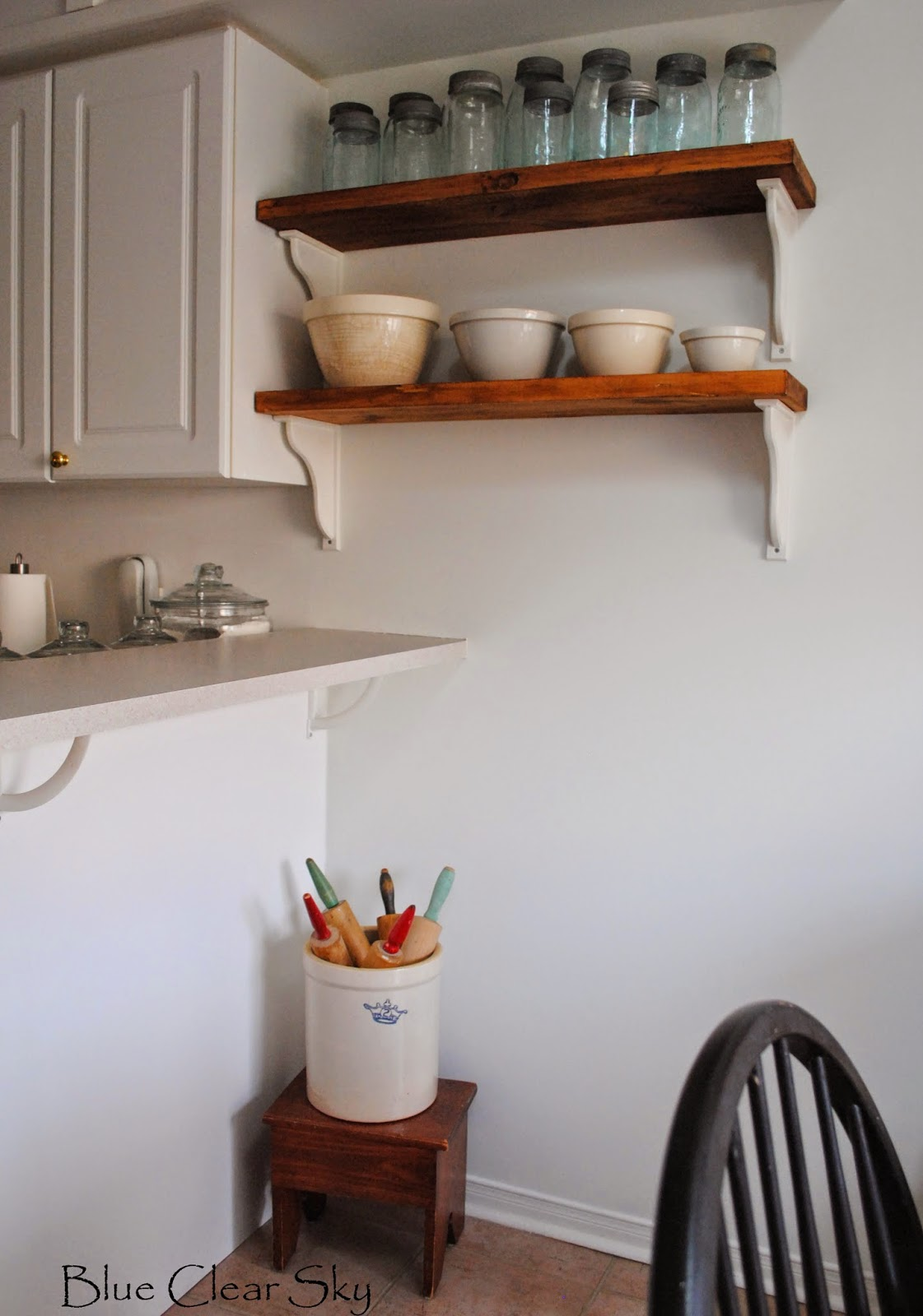 Rustic Maple: New Stained Shelves in Our Kitchen