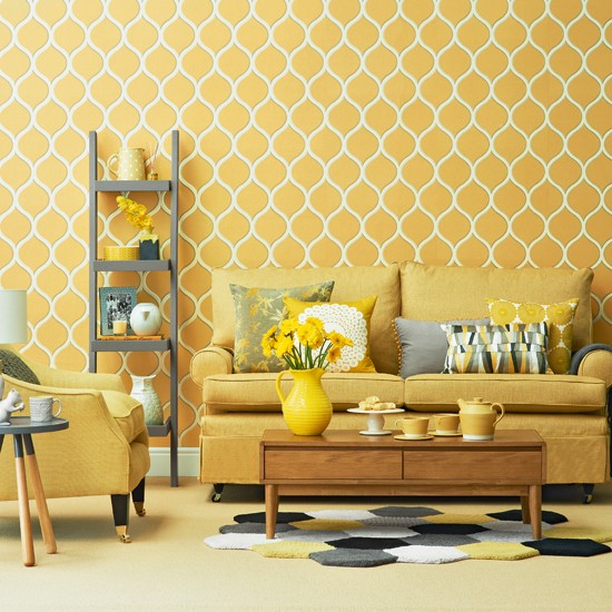 A Wallpaper, Bold Geometric With A Soft Yellow Color Provides A Solid  Background For The Furniture Mustard. Display Has Been Broken Up With Soft  Gray ...