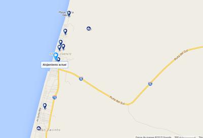 mapa como llegar? Villas en Ecuador Alojamiento en la Ruta del Sol - Casa Punta Bikini