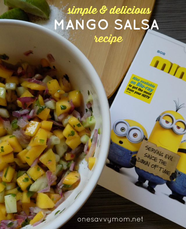 Easy Mango Salsa Recipe & DIY Minions Movie Serving Cups For your Next Family Movie NightOne Savvy Mom onesavvymom blog nyc