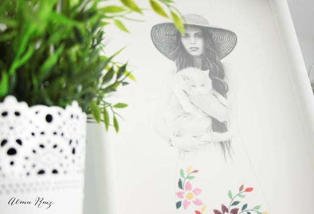 Ilustración a grafito y bordado a mano