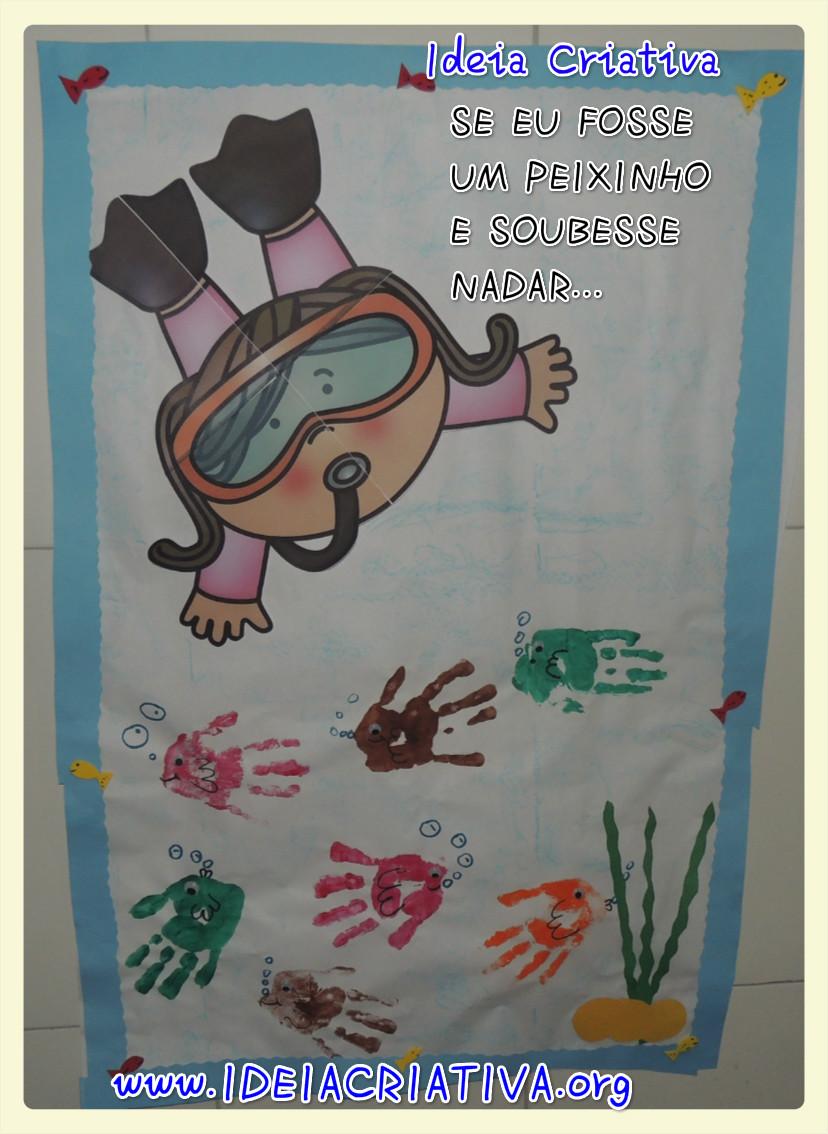 Painel com Carimbo de Mãos Projeto Fundo do Mar