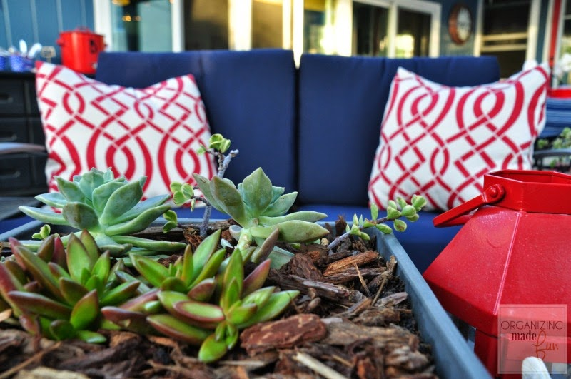 Navy cushions and red, patterned pillows :: OrganizingMadeFun.com