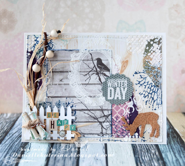 открытка+card+зима+скрапбукинг