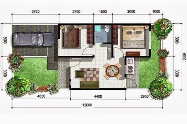Inilah inspirasi Denah Rumah Minimalis Type 36 1 Lantai 2 Kamar Tidur yang inspiratif