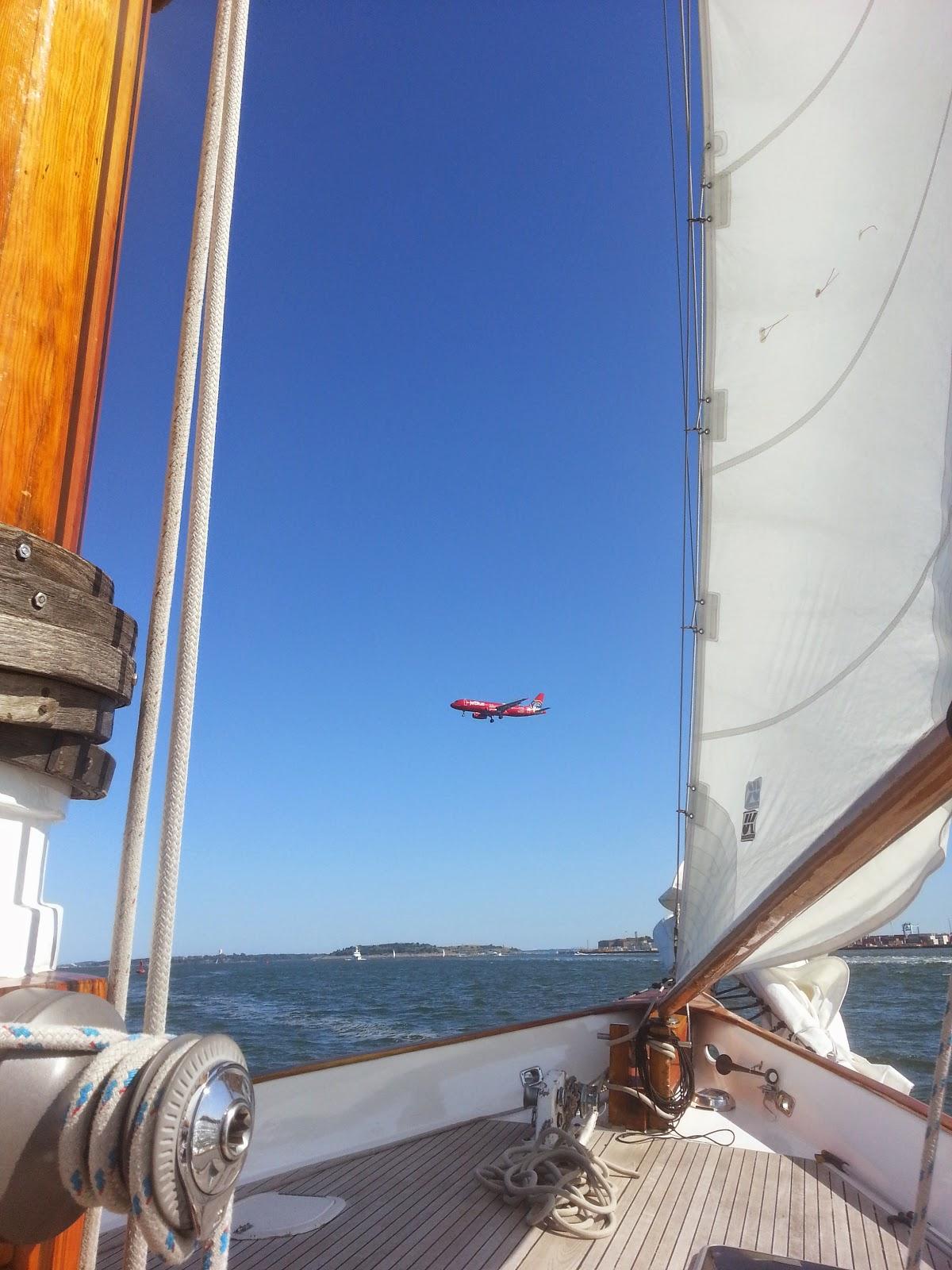 Sailing through the Logan flight path