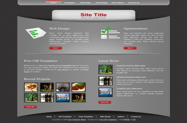 Free CSS Dark Grey Black HTML Website Template