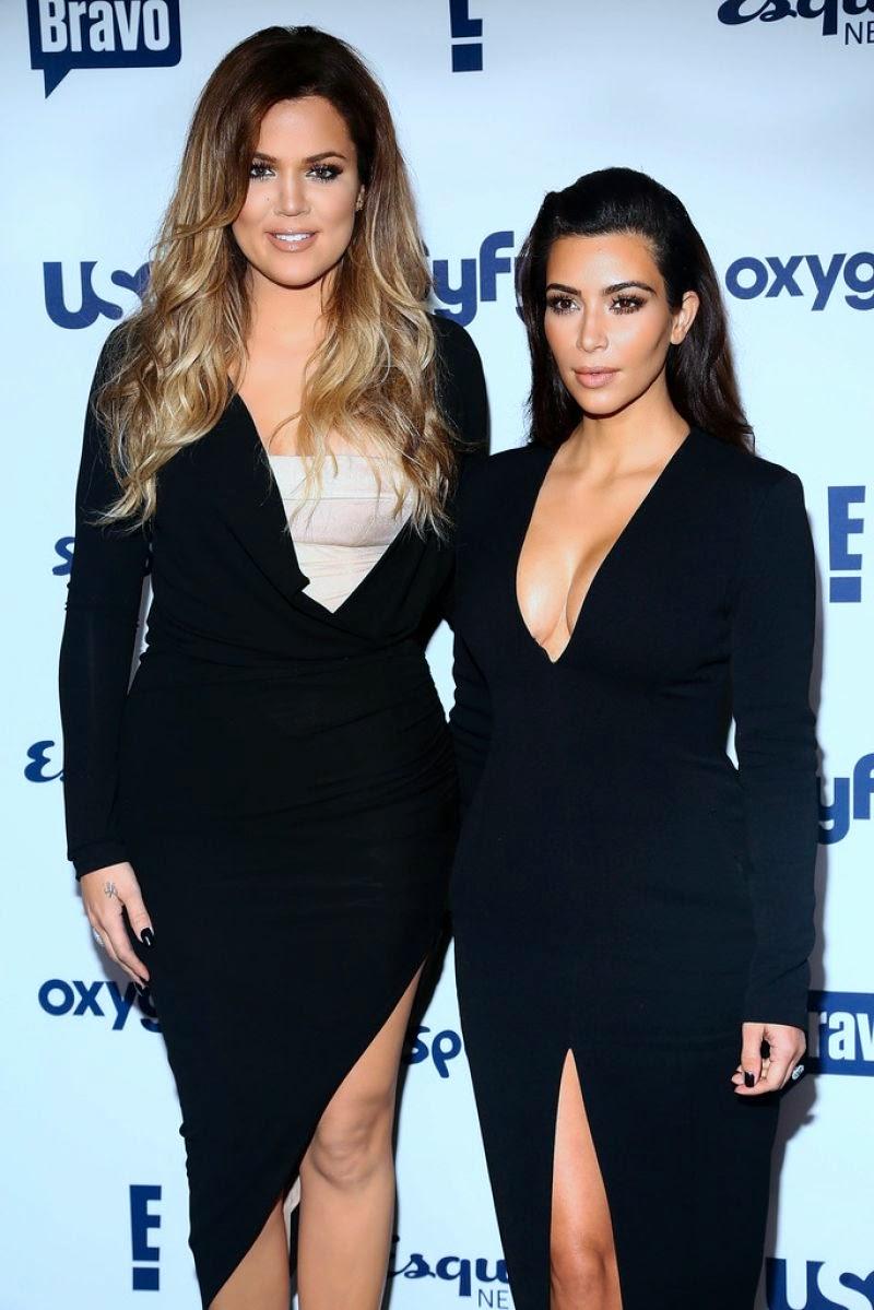 Kim and Khloe Kardashian at the 2014 NBCUniversal Upfronts