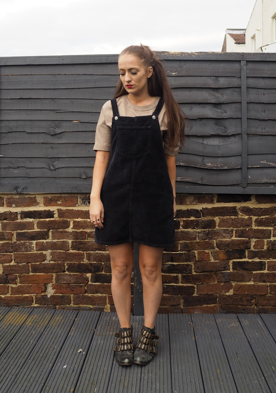 Zara Top and Topshop cord pinafore