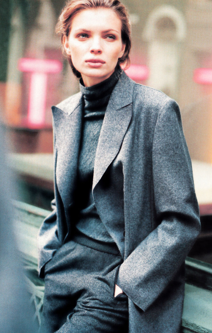 Esther Canadas in DKNY Fall/Winter 1998 ad campaign (photography: Peter Lindbergh)