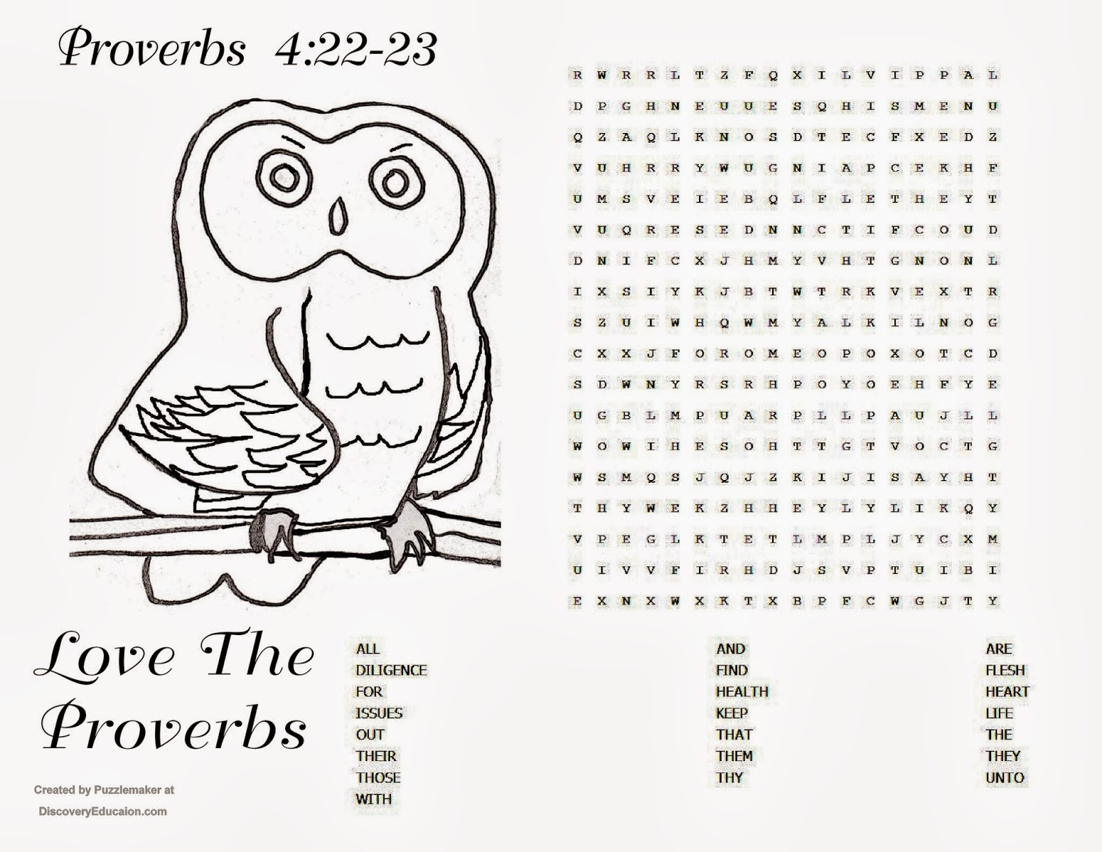 Childrens Gems In My Treasure Box: Proverbs 4:22-23 puzzle - Love The ...