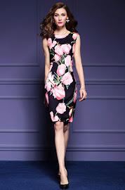 New 2016 Sleeveless Big Pink Roses Black OL Dress
