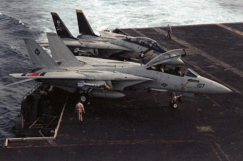 VF-41 Black Aces F-14 Tomcat alongside VF-84 Tomcat aboard USS Nimitz April, 24, 1980