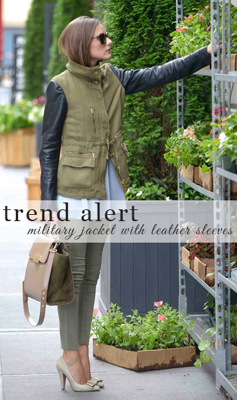military jacket with leather sleeves, olivia palermo, winter fashion