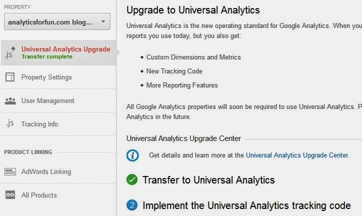 Universal Analytics Transfer Complete