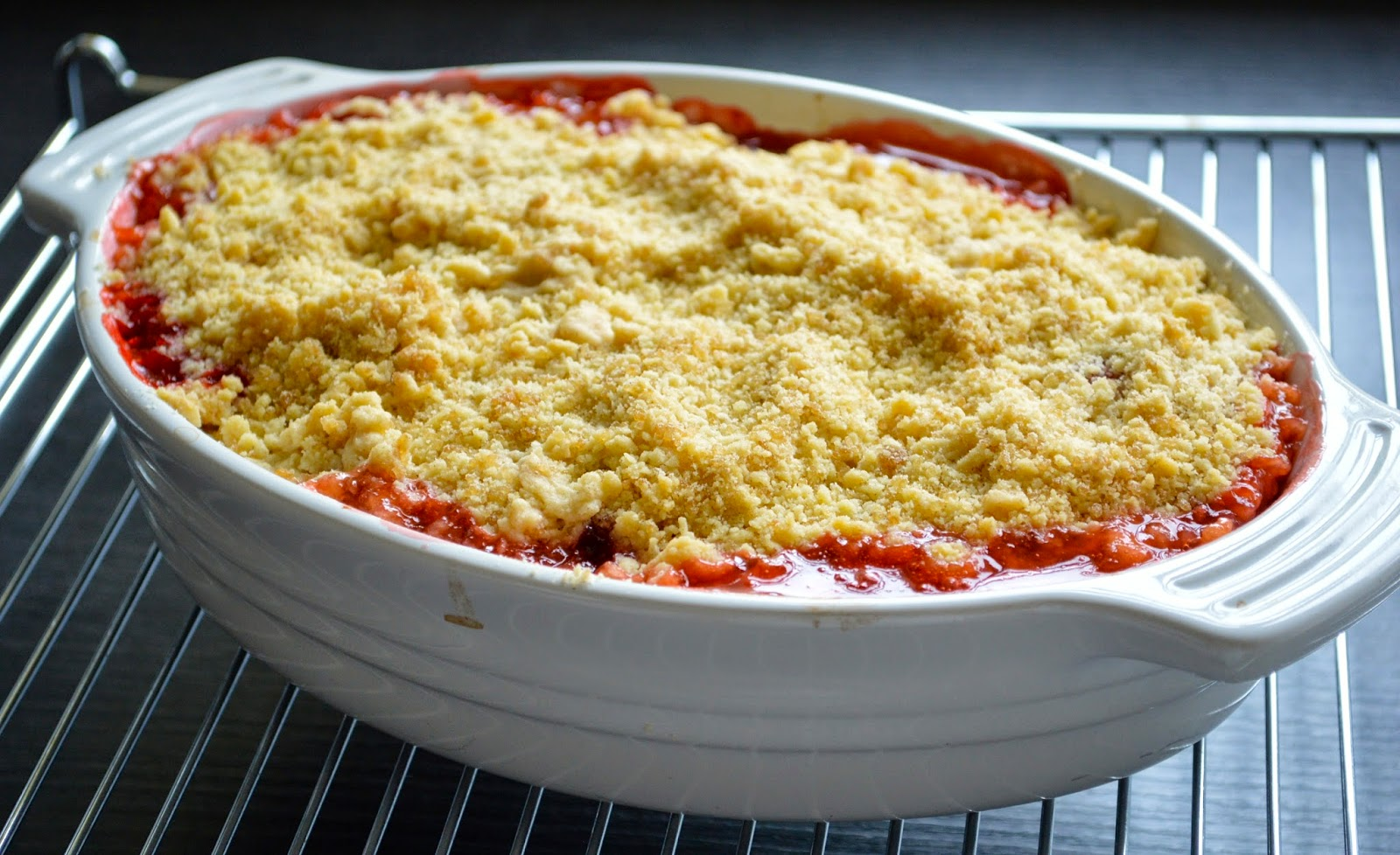 ... crumble is strawberries and rhubarb both the strawberries and rhubarb