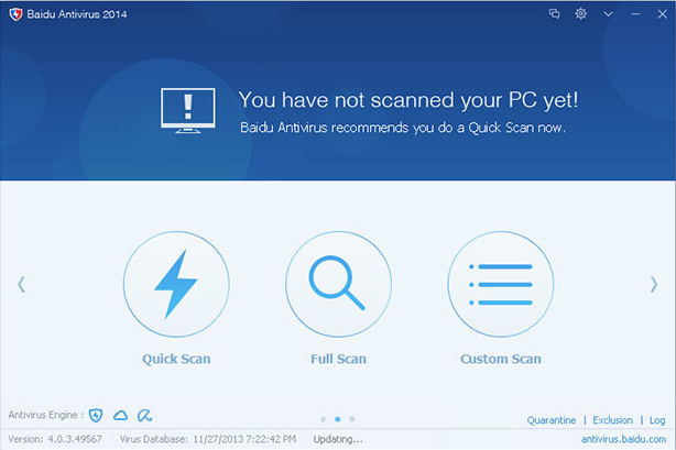 Baidu Antivirus 2014 - Main User Interface