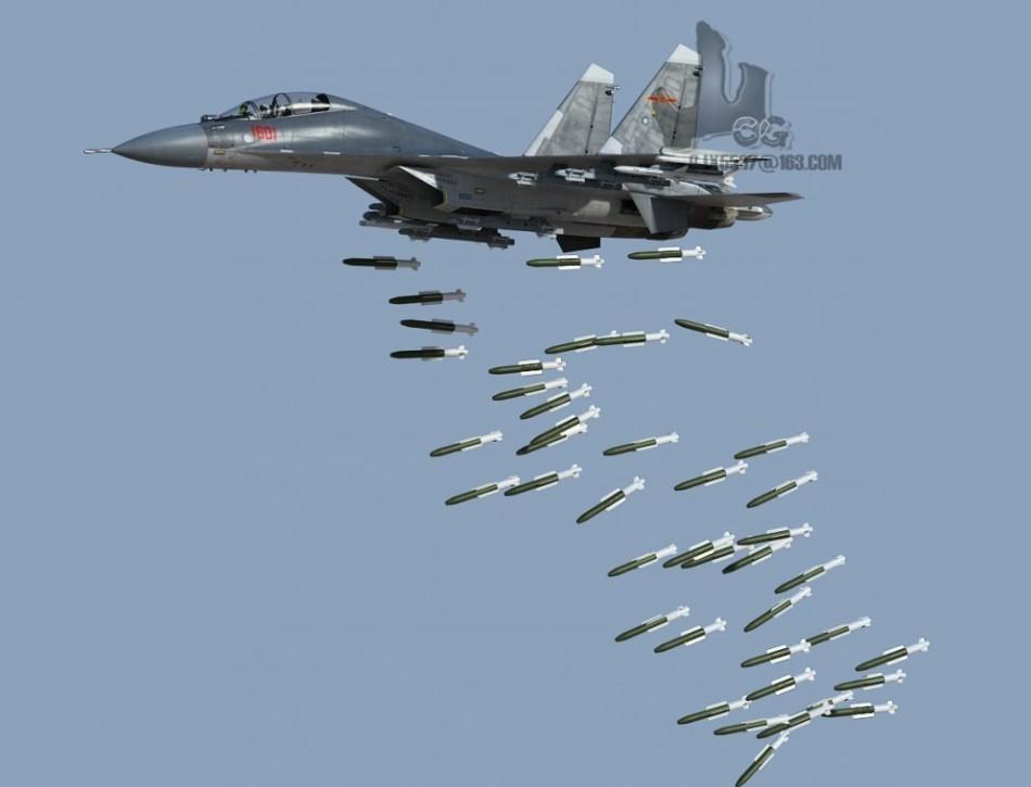 Chinese J-16 Long Range Strike Fighter Jet Dropping ...
