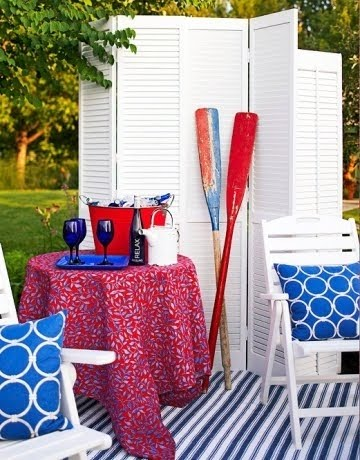 red white and blue summer garden decor