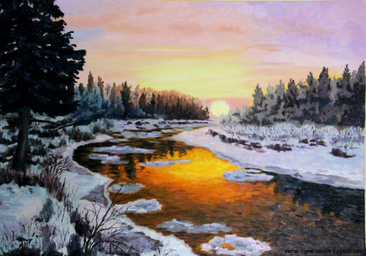 RKW Art Winter Sunset Snow Scene