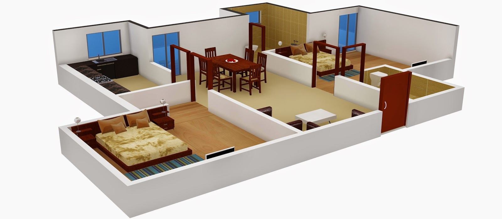 Interior design 2 bhk flat for 1 bhk interior designs