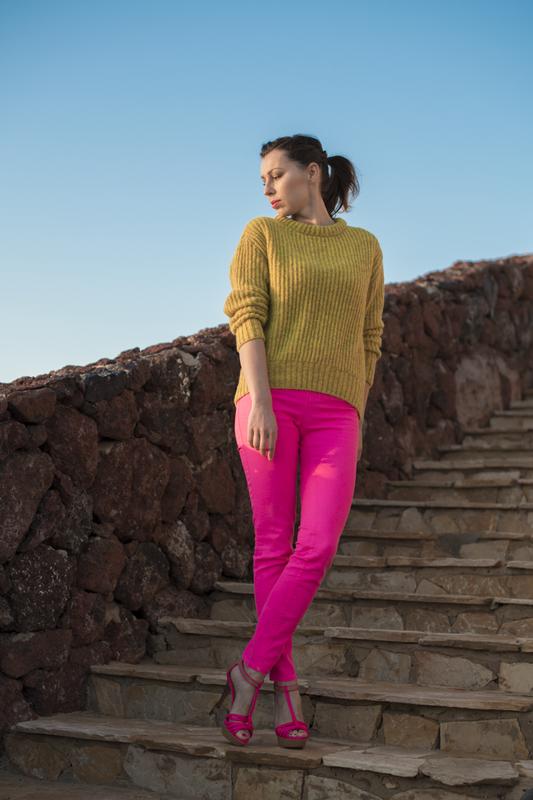 neonowe różowe spodnie fashionblog