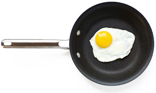 small frying pan with fried egg in it