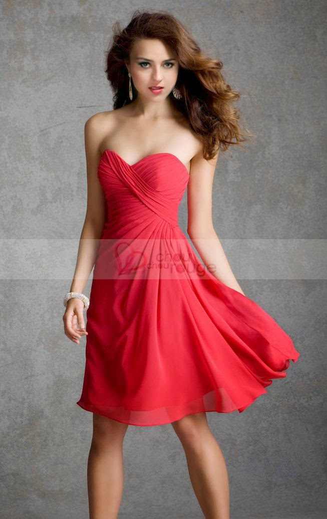 Rouge Noël Robe de cocktail princesse bustier en cœur charmante