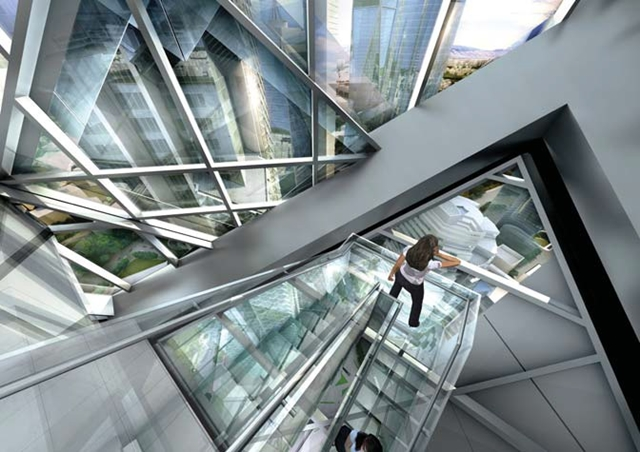 Rendering of person on the staircases inside of Dancing Dragons by Adrian Smith + Gordon Gill Architecture