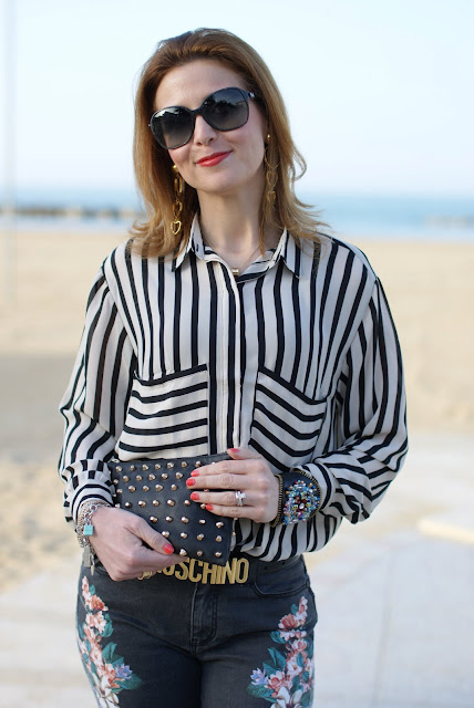 Romwe black and cream stripes shirt, Fashion and Cookies