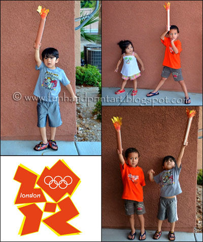 Handprint Olympic Torch Craft