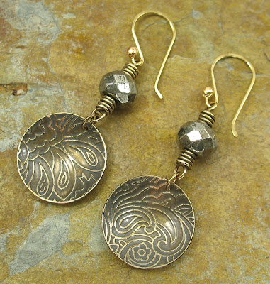 Libellula Jewelry:  Etched brass & pyrite earrings